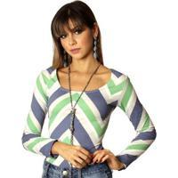 55849083c4 Blusa Ficalinda Manga Longa Estampa Zig Zag Decote Redondo Feminina -  Feminino-Verde