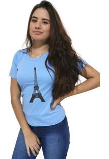 Camiseta Feminina Cellos Eifel Tower Premium Azul Claro - Kanui