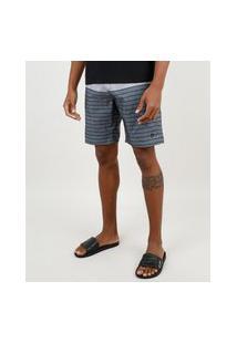 Bermuda Surf Masculina Com Listras E Bolsos Cinza Mescla Escuro