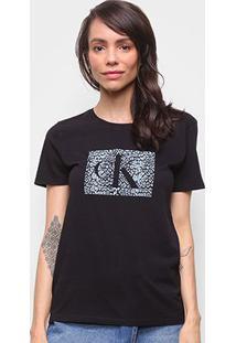 Camiseta Básica Calvin Klein Manga Curta Feminina - Feminino-Preto