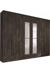 Guarda-Roupa Casal Com Espelho Premium 6 Pt Cumaru Rustic
