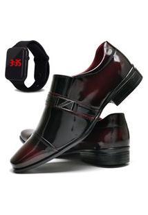 Sapato Social Masculino Com E Sem Verniz Db Now Com Relógio Led Dubuy 820Od Vinho