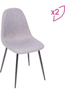 Jogo De Cadeiras Charla- Cinza & Preto- 2Pã§S- Oror Design