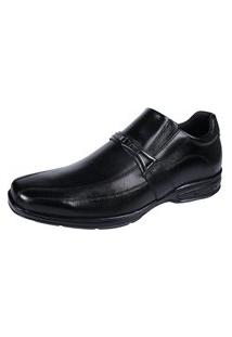 Sapato Social Ortopedico Hype Couro Bico Quadrado Palmilha Gel Confort Preto