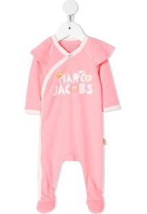 Little Marc Jacobs Pijama Com Estampa De Logo E Babado - Rosa