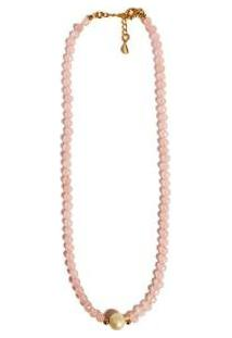 Colar Chocker Pedra Natural Semijoia Banho De Ouro 18K Quartzo Rosa E Perola - Feminino