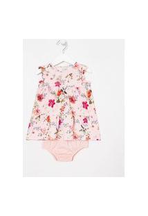 Vestido Infantil Com Calcinha Estampa Floral - Tam 0 A 18 Meses   Teddy Boom (0 A 18 Meses)   Rosa   3-6M
