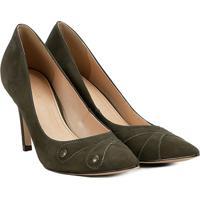 292d1d6a4b Scarpin Couro Shoestock Salto Alto Botões - Feminino-Musgo
