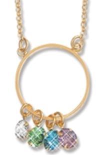 Colar Le Diamond Gabi Cristais Multicoloridos Dourado - Kanui