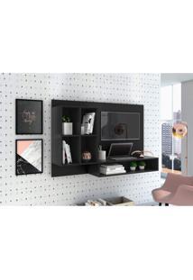 Escrivaninha Suspensa Com Painel Para Tv Até 37 Polegadas Mimo Siena Móveis Preto Fosco Liso