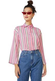 Amaro Feminino Camisa De Crepe Manga Ampla, Duo Stripe Pink