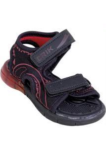 Sandália Infantil Vermelha Com Velcro E Luz