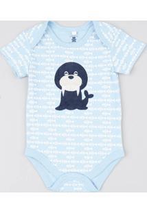 Body Infantil Leão Marinho Estampado Peixes Manga Curta Azul Claro