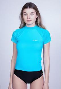 Camiseta O'Neill Lycra Manga Curta Feminino - Feminino-Azul