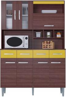 Cozinha 7 Portas E 4 Gavetas Melissa Capuccino/Amarelo- Lc Móveis