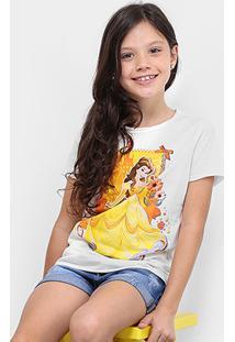 Camiseta Infantil Disney Bela Feminina - Feminino-Off White