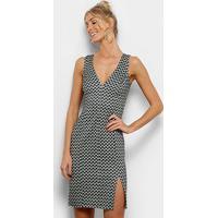 7c83162db Vestido Morena Rosa Curto Estampado Decote V - Feminino-Preto+Azul
