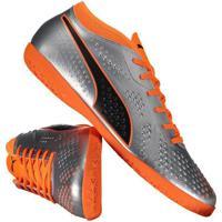 Chuteira Puma One 4 Syn It Futsal Prata ef0419dedee50