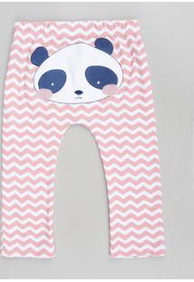 Calça Infantil Panda Estampada Chevron Coral