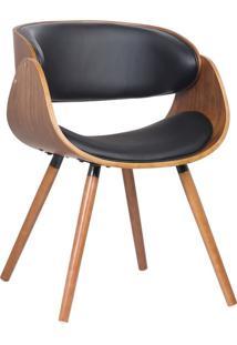 Cadeira Gran Belo Decorativa Escritório Oga Base Madeira Pu Preta