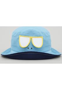 Chapéu Infantil Com Estampa Interativa Proteção Uv50+ Azul Claro