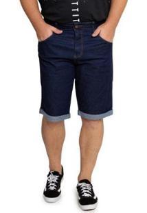 Bermuda Jeans Biotipo Plus Size Barra Dobrada Masculino - Masculino-Azul