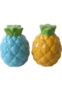 Saleiro E Pimenteiro Em Cerâmica Amarelo E Azul Abacaxi Urban Home