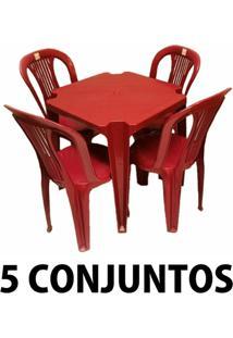 Conjunto Mesa E 4 Cadeiras Bistro Plastico Vinho 5 Conjuntos