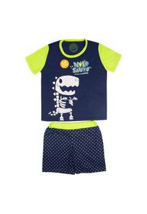 Pijama Fosforescente Short Infantil Masculino 10 - Diversauro