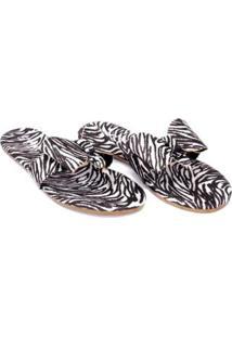 Rasteirinha Tecido Estampado Zebra Laço Delicado Sylt Feminina - Feminino-Preto+Branco