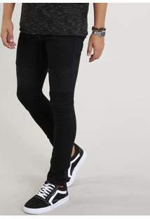 Calça Jeans Masculina Skinny Com Recortes Preta