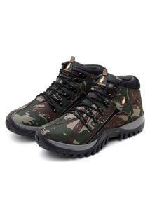 Bota Coturno Parra Boots Tenis Masculino Adventure Trilha Verde Militar Camuflado