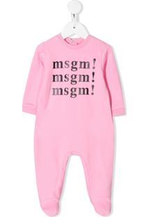 Msgm Kids Conjunto De Pijama Com Estampa De Logo - Rosa