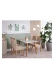 Conjunto De Mesa De Jantar Adele Com Tampo De Vidro Off White E 4 Cadeiras Estofadas Alice Suede Nude E Madeira