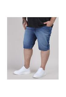 Bermuda Jeans Masculina Plus Size Slim Com Bolsos Azul Médio