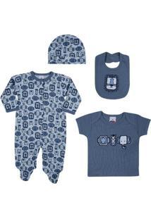 Conjunto Baby - Meninos - Macacão, Camisa, Babador E Touca - Azul - Tip Top - Rn