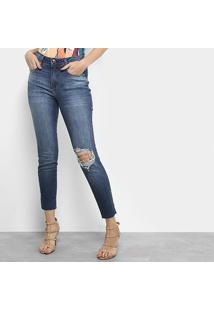 Calça Jeans Skinny Lança Perfume Rasgos Barra Desfiada Cintura Média Feminina - Feminino-Azul