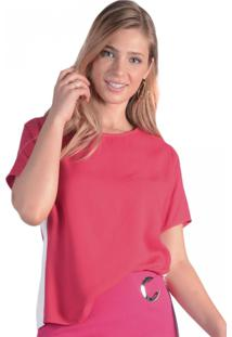 Camiseta T-Shirt Viscose Faixa E Fenda Lateral Pop Me Vermelho