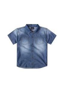 637a475a45 Camisa Jeans Bebê Quimby Masculina - Masculino-Azul