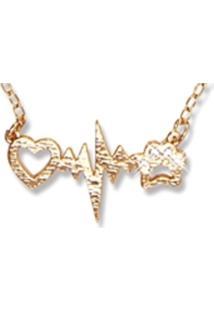 Colar Le Diamond Coração Batimentos E Pata Dourado