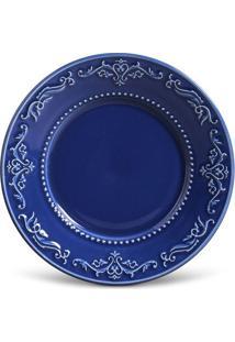 Prato Sobremesa Acanthus Cerâmica 6 Peças Azul Navy Porto Brasil