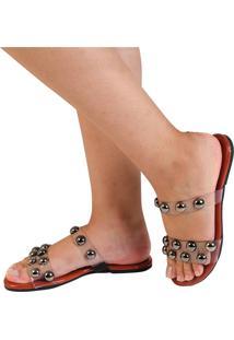 Rasteira Mercedita Shoes Cristal Borgonha - Marrom - Feminino - Dafiti