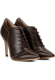 Ankle Boot Couro Jorge Bischoff Bico Fino Textura Cobra - Feminino