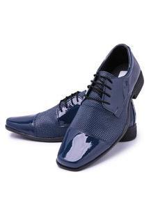 Sapato Social Cadarço Mr Shoes Verniz Azul