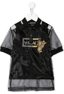 Young Versace Camiseta Polo Translúcida - Preto