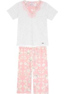 Pijama Feminino Lua Cheia Pescador Floral