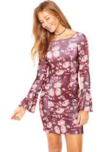 Vestido Colcci Curto Comfort Vinho/Coral