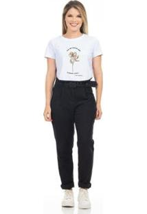 T-Shirt Cropped Clara Arruda Viés Estampada Feminina - Feminino-Branco