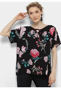 Blusa Pérola Bata Floral Feminina - Feminino-Preto+Rosa