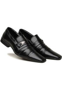 Sapato Social Masculino Elástico Metal Leve Macio Dia A Dia - Masculino-Preto
